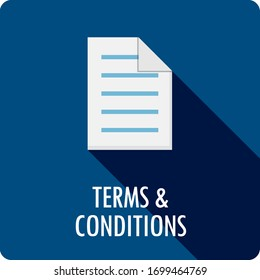 TERMS & CONDITIONS dark blue square vector button with symbol
