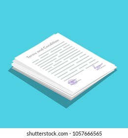 Terms And Conditions icometric icon.  Document paper, contract. Vector illustration in flat style.