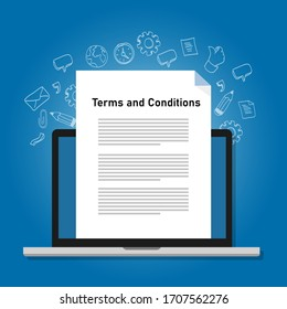 Terms and conditions paper document on laptop screen icon symbol vector illustration