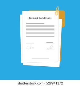 Terms and Conditions Sign or agreements paper or documents, with clip vector illustrations
