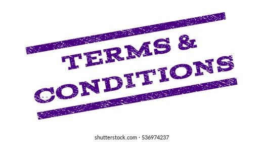 Terms & Conditions watermark stamp. Text tag between parallel lines with grunge design style. Rubber seal stamp with scratched texture. Vector indigo blue color ink imprint on a white background.