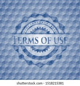 Terms of use blue badge with geometric pattern background. Vector Illustration. Detailed.