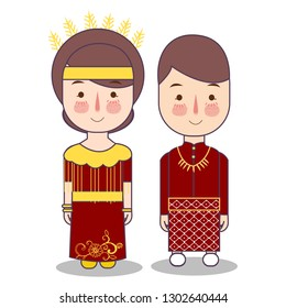 Ternate North Maluku province wedding Couple, cute Indonesian traditional clothes costume bride and groom cartoon vector illustration flat