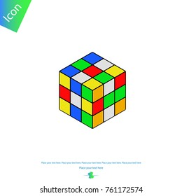 Ternopil, Ukraine - November 23, 2017: Rubik's Cube. Vector icon. Colored.
