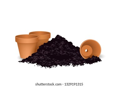 Terra cotta Flower pots with the soil, Vector illustration isolated on white background