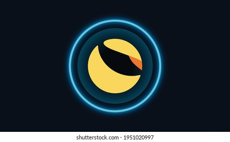 Terra Luna token coin symbol with crypto currency themed background design. Modern yellow blue neon color banner for Terra LUNA logo icon. Blockchain technology, decentralized finance concept. Vector