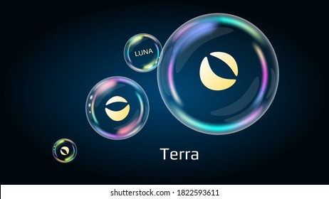 Terra LUNA token symbol in soap bubble, coin DeFi project decentralized finance. The financial pyramid will burst soon and destroyed. Vector EPS10.