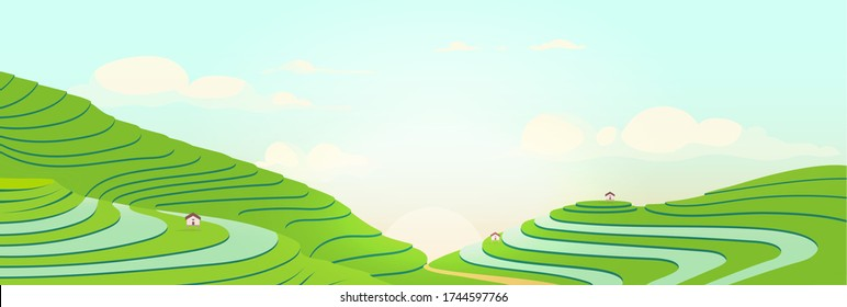 Terraced fields at sunrise flat color vector illustration. Sunny morning in chinese farmlands. Tea plantations 2D cartoon landscape. Farming land. Vietnamese rice fields