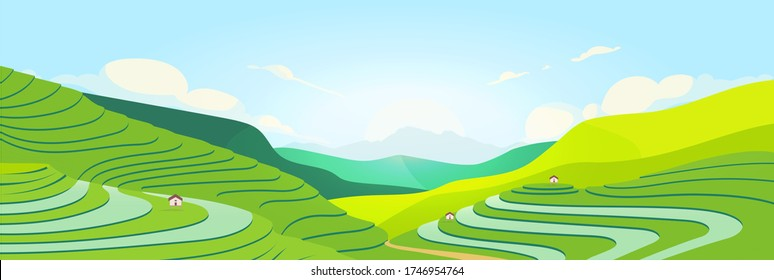 Terraced fields at sunset flat color vector illustration. Chinese farmland. Tea plantations 2D cartoon landscape with mountains on background. Asian meadow. Agricultural area
