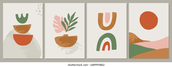 Terracotta Art Print Set. Abstract contemporary modern trendy painting. Vector illustration in Burnt orange, dusty pink. Perfect for posters, instagram posts, social media.