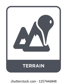 terrain icon vector on white background, terrain trendy filled icons from Maps and locations collection, terrain simple element illustration, terrain simple element illustration