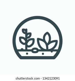 Terrarium isolated icon, terrarium with plants under glass linear vector icon