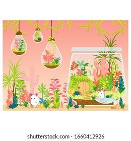 Terrarium plants vector nature illustration