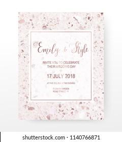 Terrazzo celebration invitation card with rose gold texture.
