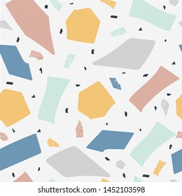 Terrazzo floor marble seamless handcrafted pattern the abstract vector illustration. Imitation of granite and quartz stone texture background for architecture design.