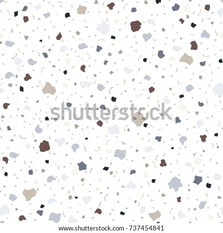 Terrazzo Floor Texture Seamless Pattern Abstract Colorful Vector Illustration On White Background In Vintage Style