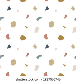 Terrazzo flooring seamless pattern. Vector mosaic texture of natural stone fragments, marble, granite, limestone, quartz, glass and concrete. Terazzo background in pink, white, gray and green colors.