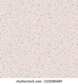 Terrazzo marble flooring seamless pattern. Vector texture of mosaic floor with natural stones, granite, marble, quartz, limestone, glass, concrete. Trendy beige background with colored particles