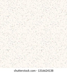 Terrazzo marble seamless pattern. Vector texture of mosaic floor with natural stones, granite, marble, quartz, limestone, concrete. Polished rock flooring surface. White background with colored chips