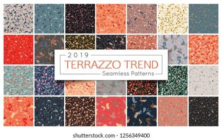 Terrazzo seamless pattern collection. Set of Italian marble surface vector illustration