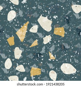 Terrazzo seamless pattern. Dark classic flooring texture. Charming background made of natural stones, granite, quartz, marble, and concrete. Vibrant seamless terrazzo.