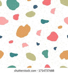 Terrazzo seamless pattern. Modern venetian marble texture background granite shapes abstract backdrop. Vector chaotic mosaic illustration for textile, tile design interior decoration