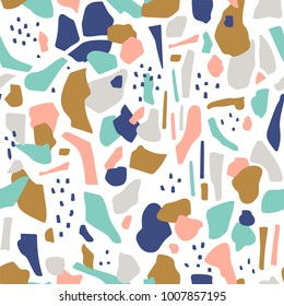 Terrazzo seamless pattern. Vector abstract background with chaotic stains.