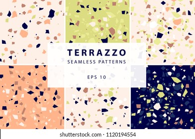Terrazzo seamless patterns in decorative style - set in pale pink, pistachio, peach, deep blue colors
