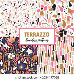 Terrazzo seamless patterns. Set trendy abstract repeat designs. Vector abstract background with chaotic stains.