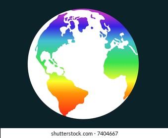 Terrestrial globe with rainbow flag - vector.