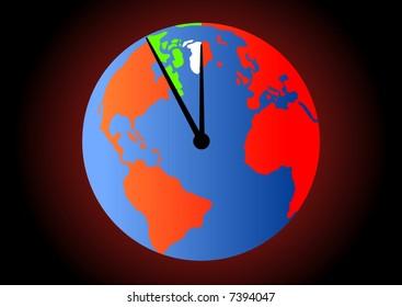 Terrestrial globe with watch hands - vector.