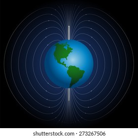 Terrestrial magnetic field around planet earth. Vector illustration on blue to black gradient background.