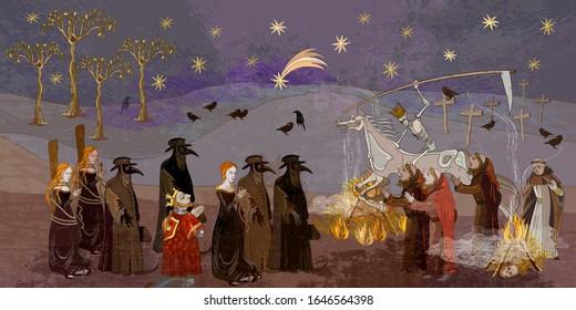 Terrible doctors. Plague epidemic. Horseman of death on horse. Middle Ages parchment style. World pestilence. Coronavirus art. Ancient book illustration. Medieval scene