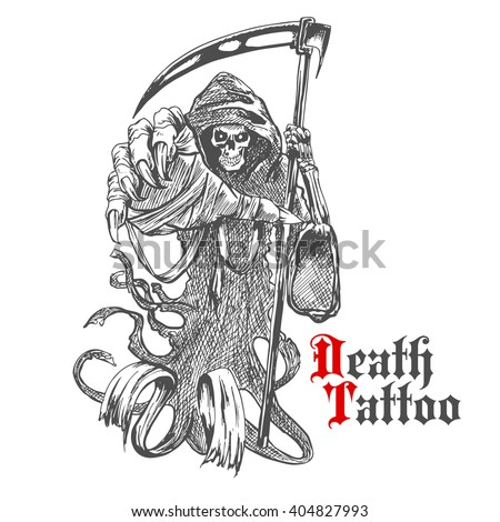 Terrible Grim Reaper Death Scythe Character Stock Vector Royalty