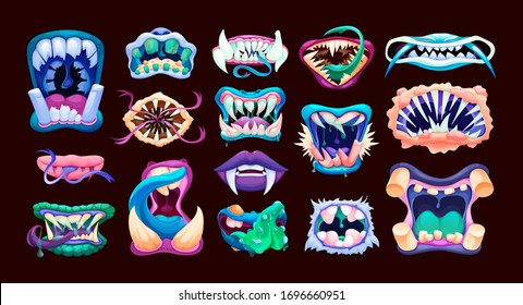 Terrible monster mouths. Scary lips teeth and tongue monsters. Monstrous mouths, emotions, facial expressions for Halloween cartoon vector illustration