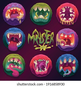 Terrible monster mouths with tongues and sharp teeth. Scary expression facial and emotions. Halloween monster party banner. Flat cartoon vector illustration.