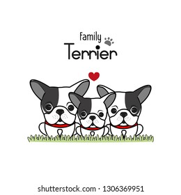 Terrier Dog Family Father Mother and Newborn Baby.  Vector illustration.