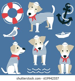 Terrier as a sailor and marine objects icon set. Cute dog dressed in a red bandana and white panama, gull, anchor, lifebuoy and paper boat vector collection.
