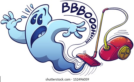 Terrified blue ghost in trouble trying to escape from being sucked with great power by a red evil vacuum cleaner which emits an onomatopoeic scary noise