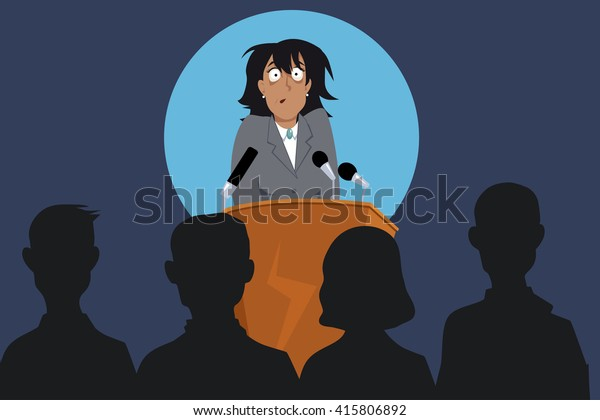 Terrified female speaker on a stage in front of the audience, EPS 8 vector illustration, no transparencies