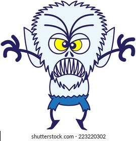 Terrifying werewolf with big head, bulging yellow eyes, blue pants and blue fur while frowning, raising its arms, standing on tiptoes and clenching its sharp fangs in a very threatening mood