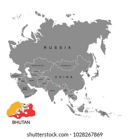 Territory of Bhutan on Asia continent. Flag of Bhutan. Vector illustration