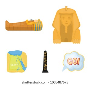 The territory of Egypt, the Sphinx, the pharaoh's sarcophagus, the Egyptian pillar with the inscription.Ancient Egypt set collection icons in cartoon style vector symbol stock illustration web.