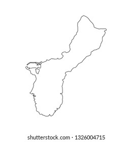 Territory of Guam map of black contour curves of