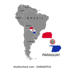 Territory of Paraguay on South America continent. White background. Vector illustration