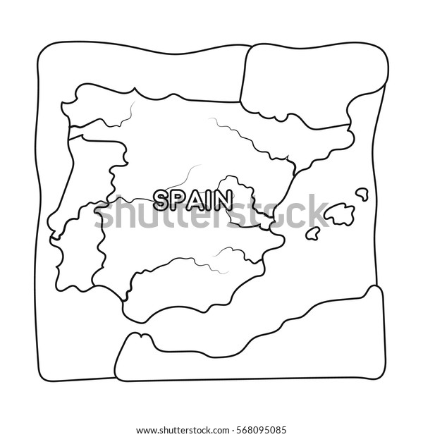 Territory of Spain icon in outline style isolated on white background. Spain country symbol stock vector illustration.