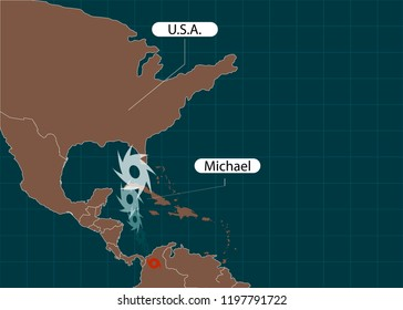 Territory of United States of America. Florida. Hurricane - storm Michael. Hurricane damage. Vector illustration