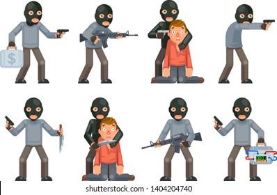 Terror danger risk soldier hostage threat villain terrorist weapon attack criminal character flat cartoon design isolated set vector illustration