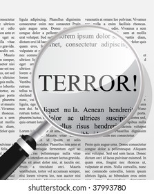 Terror, newspaper headline seen through magnifier glass