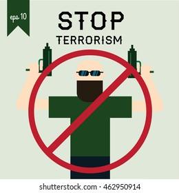Terrorism Armed Terrorist Black Mask Hold Weapon Machine Gun Vector Illustration. Stop terrorism poster